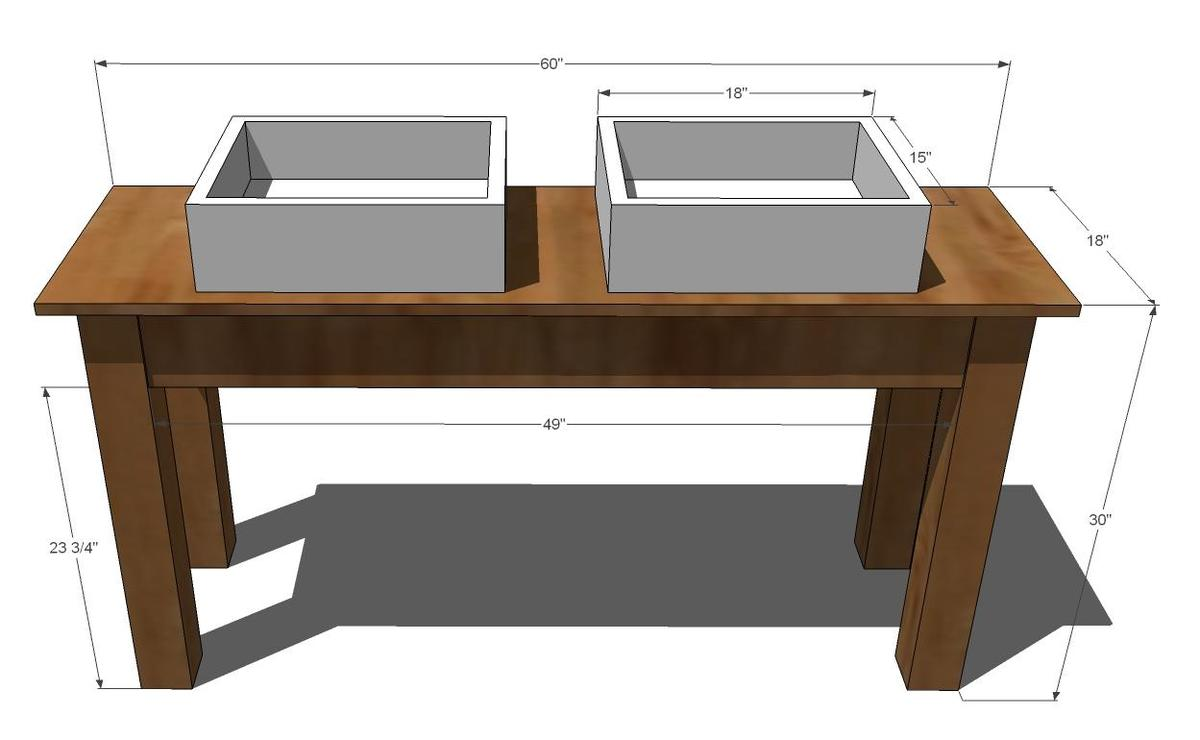 diagram of the farmhouse style bathroom vanity with white sinks