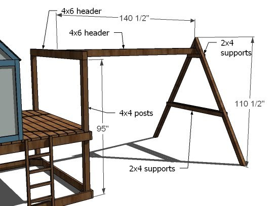 ana white how to build a swing set for the playhouse