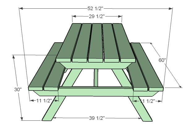 diagram showing the dimensions of picnic table