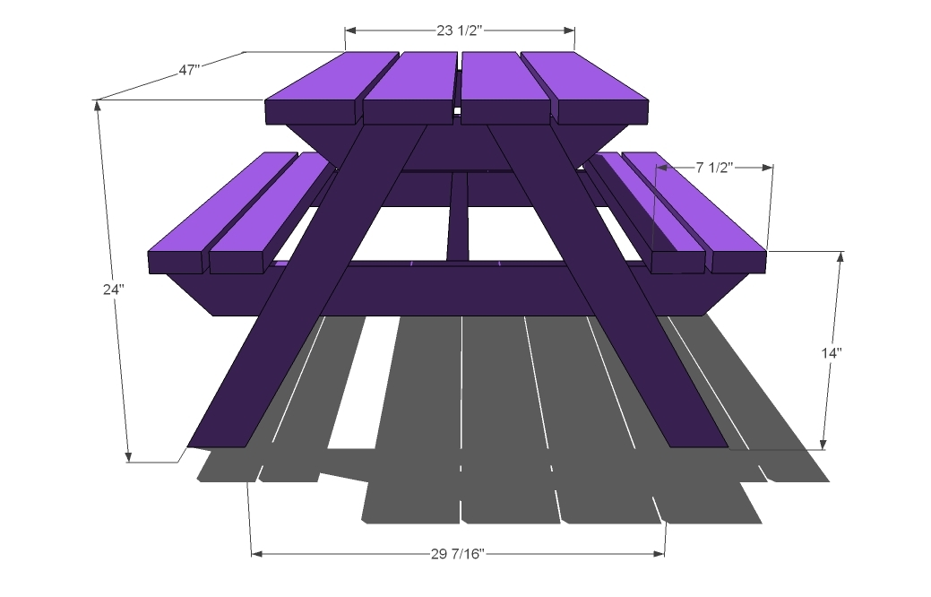 Ana White Build A Bigger Kids Picnic Table DIY Projects - Standard picnic table size