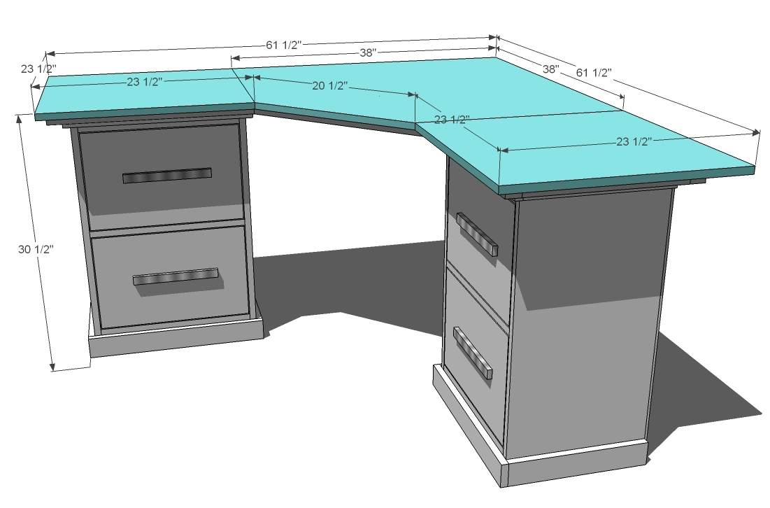 Ana White Office Corner Desktop Plans DIY Projects - Build corner computer desk