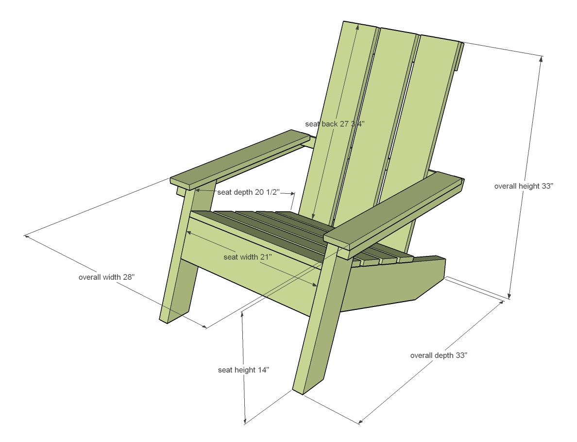 dimensions diagram for modern outdoor chair
