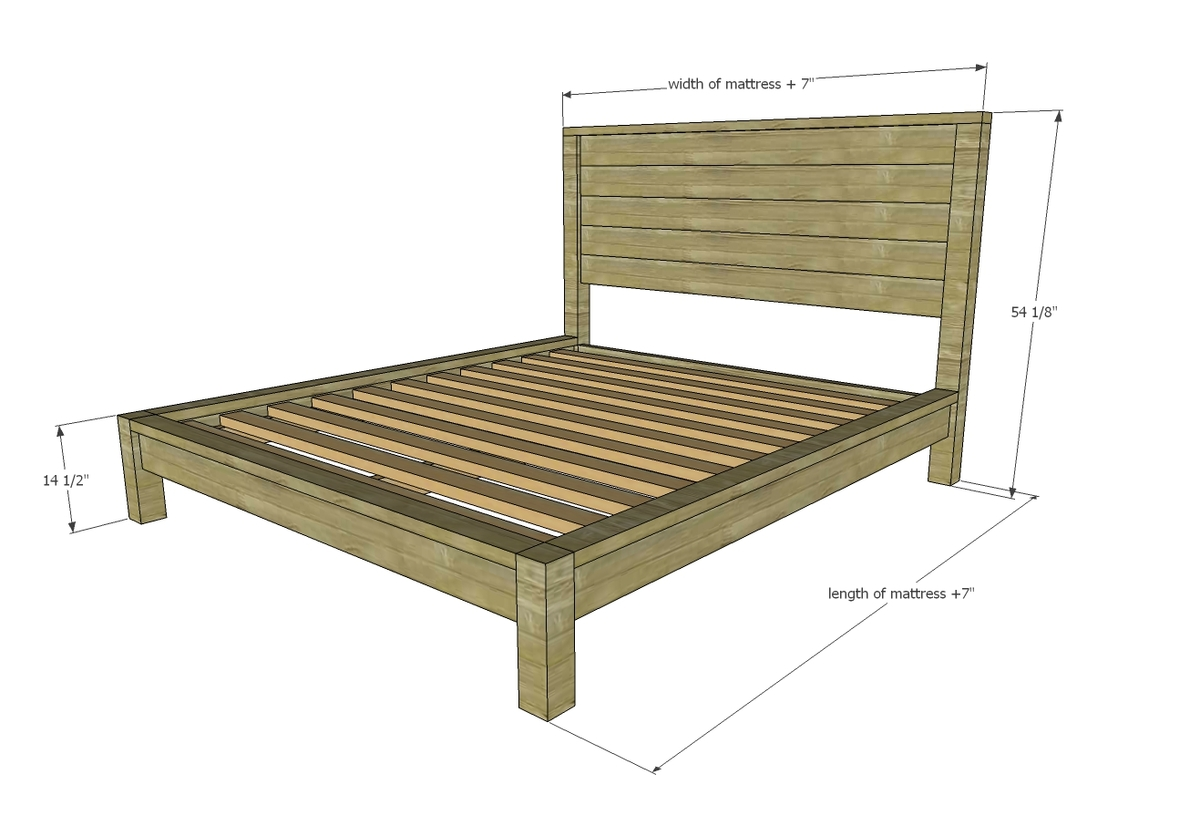 diagram of modern farmhouse bed plans showing dimensions