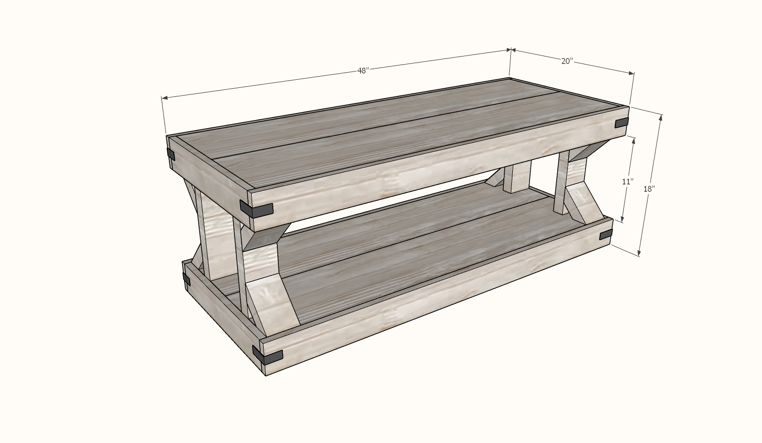 modern farmhouse coffee table plans dimensions