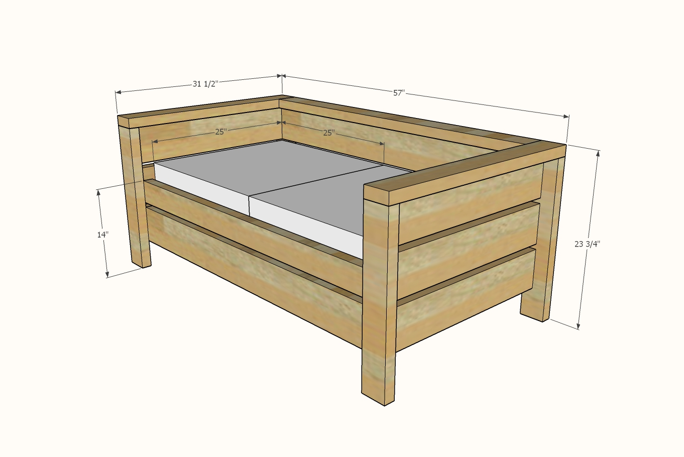 dimensions of modern outdoor loveseat
