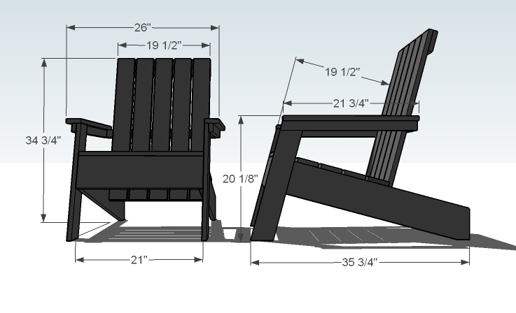 Ana white modish adirondack chair diy projects for Chaise adirondack bois