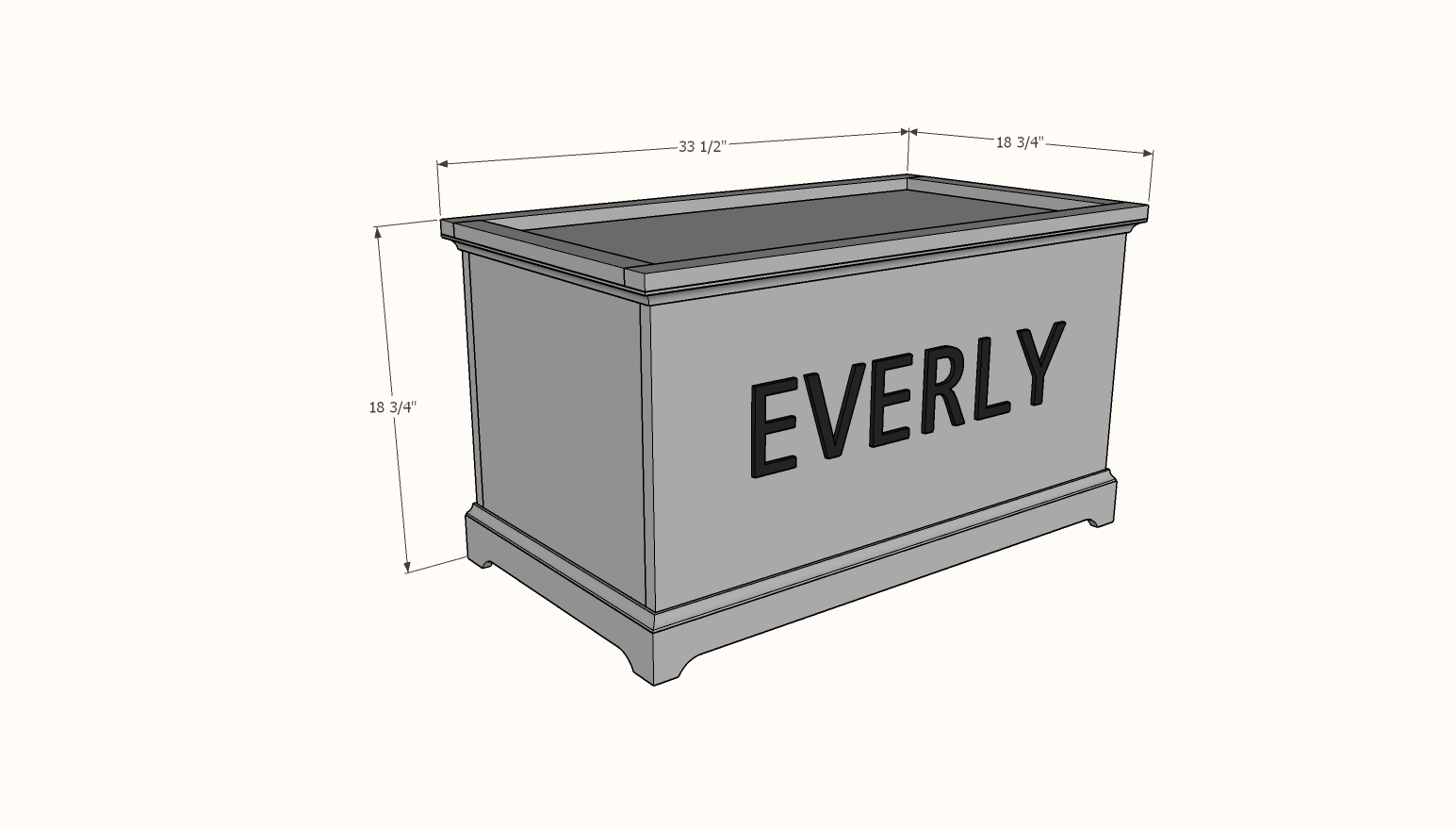 open top toy box dimensions diagram