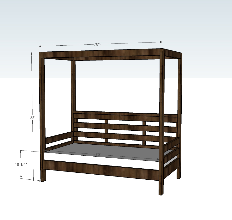 outdoor daybed dimensions diagram with canopy