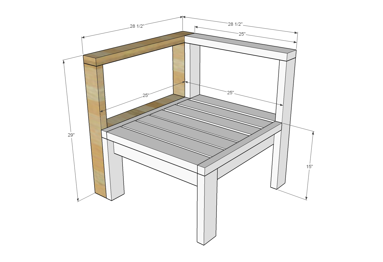 dimensions diagram for outdoor sectional piece with corner