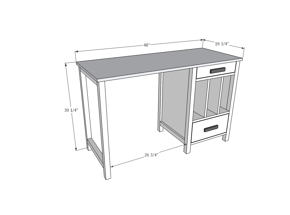 File Cubby Base Desk With Drawers Ana White