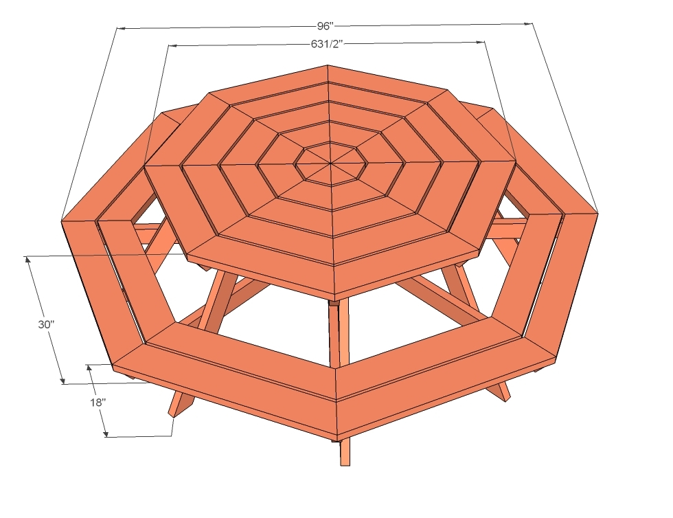 diagram showing dimensions of picnic table
