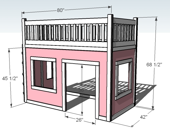 playhouse loft bed dimensions