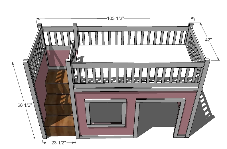 stairs are going to add about 2 feet to the overall width of the bed ...