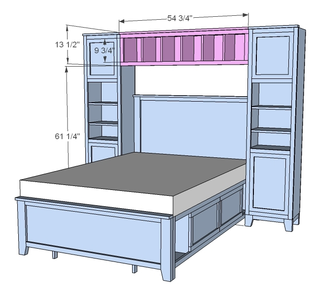 Bookcase Around Bed: Hailey Hutch For Twin And Full Beds - DIY Projects
