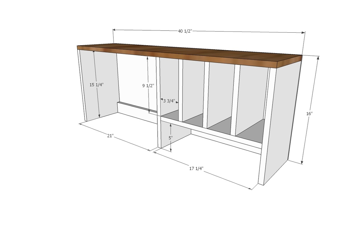 Ana White | Desk Hutch for File Cubby Base Desk with ...