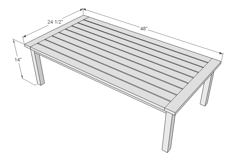 Ana white simple white outdoor coffee table diy projects Typical coffee table dimensions