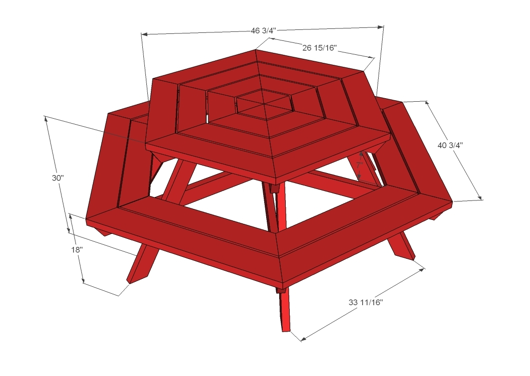 Ana White Hexagon Picnic Table DIY Projects - Pentagon picnic table