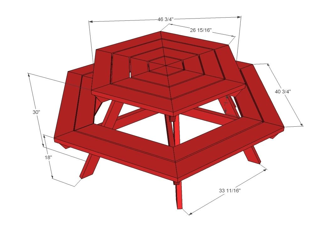 Workhome Idea: Hexagon picnic table blueprints