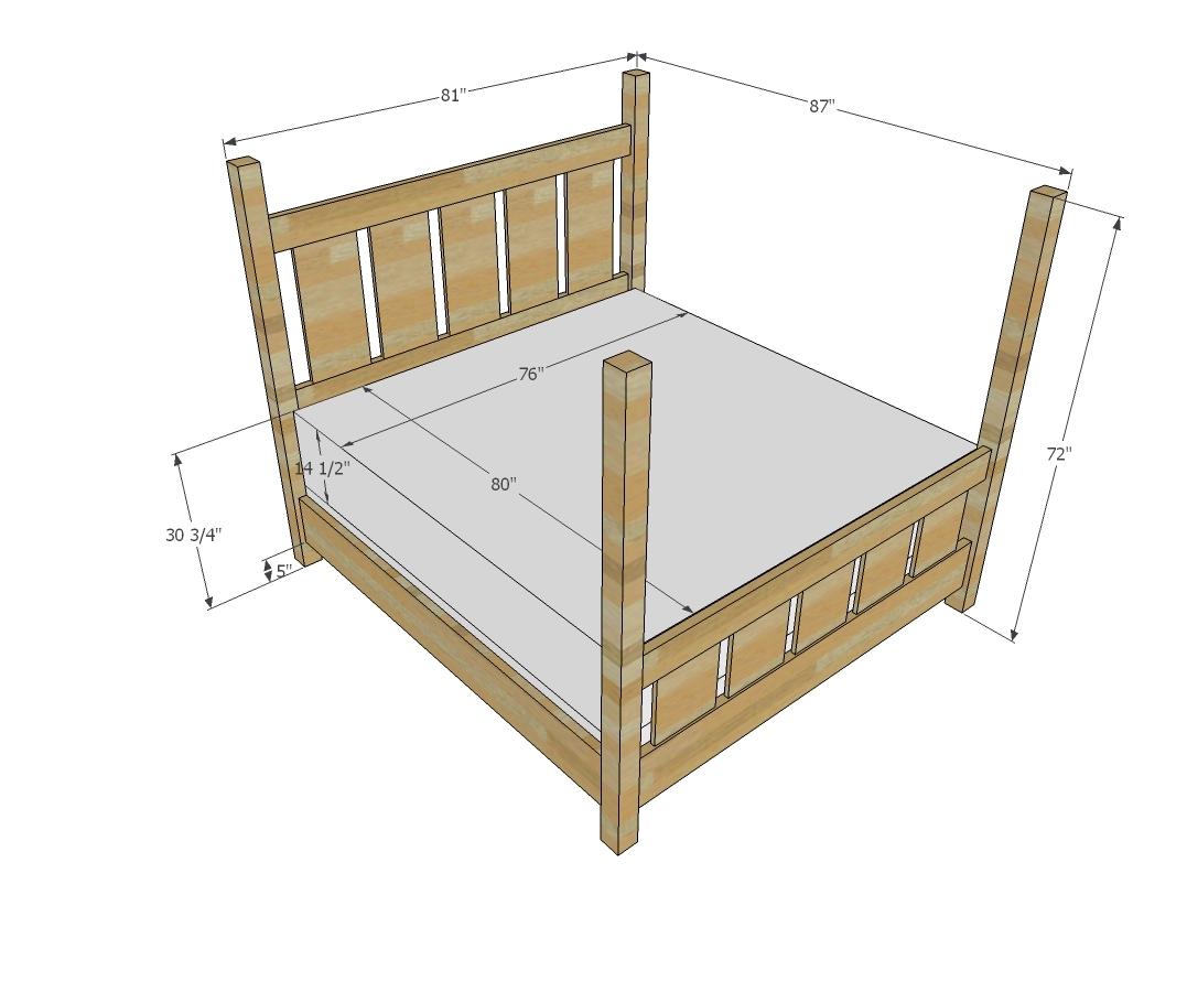 Slatted Four Post Farmhouse Bed King Ana White