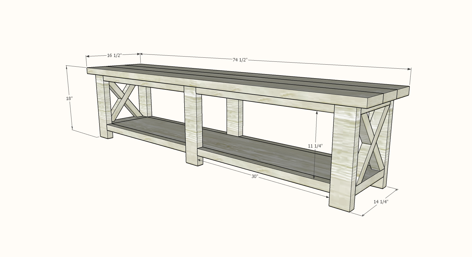 rustic x bench plans dimensions