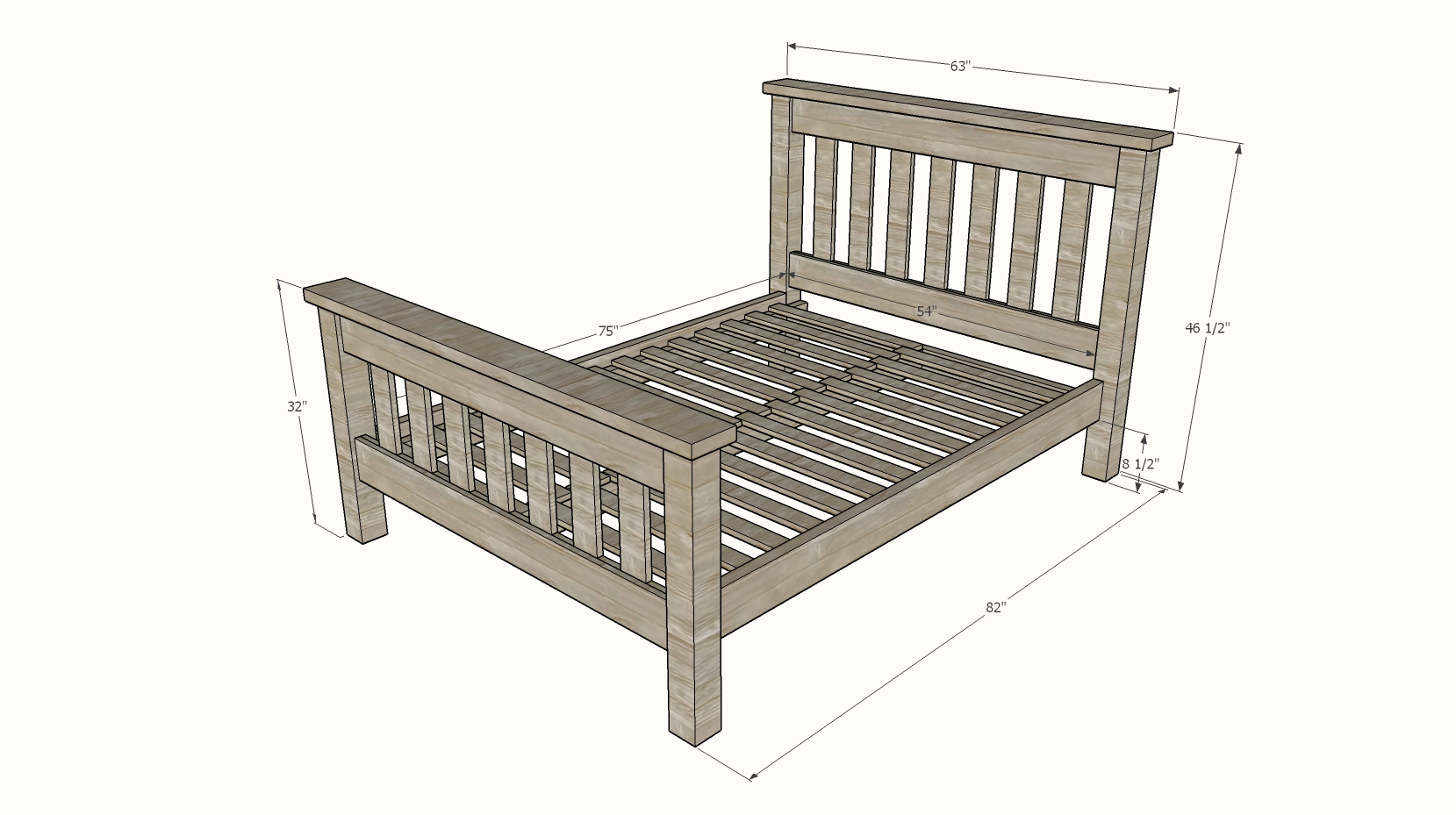 Simple Bed [Full Size Bed Frame] | Ana White