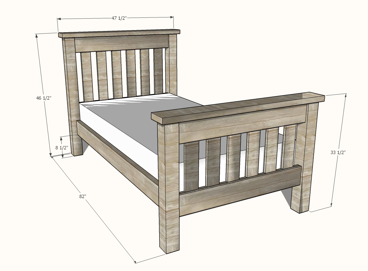 Simple bed woodworking project plan dimensions
