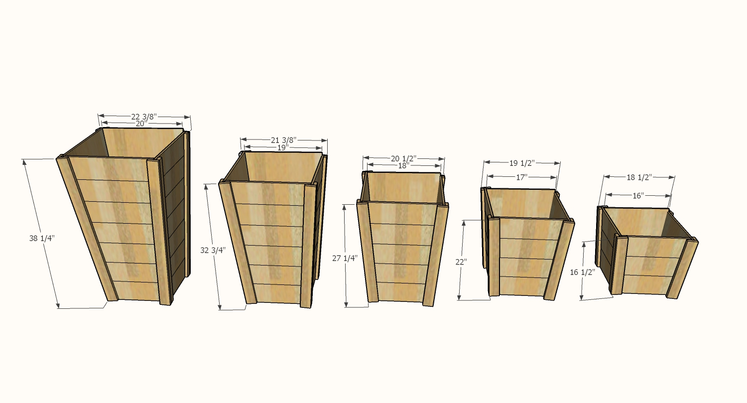 tall wood planter dimensions