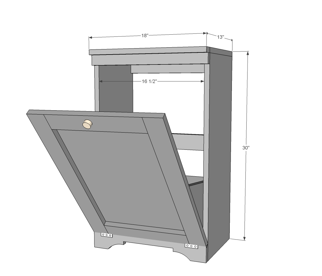 wood tilt out trash bin dimensions
