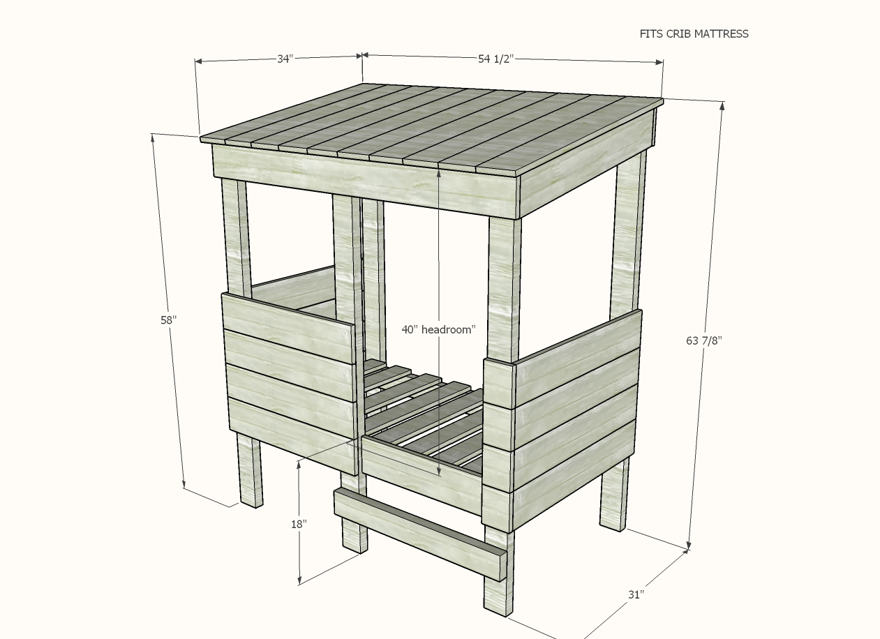 toddler playhouse bed plans dimensions