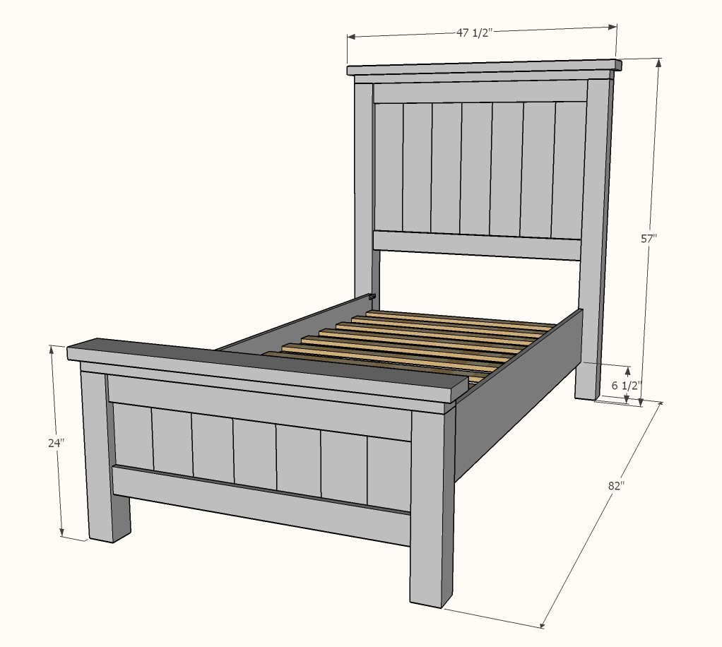 farmhouse bed dimensions diagram ana white plans