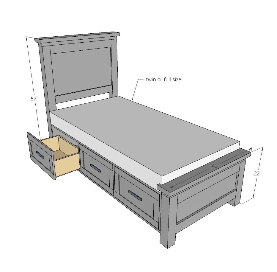 dimensions diagram for farmhouse bed with storage drawers, twin and full