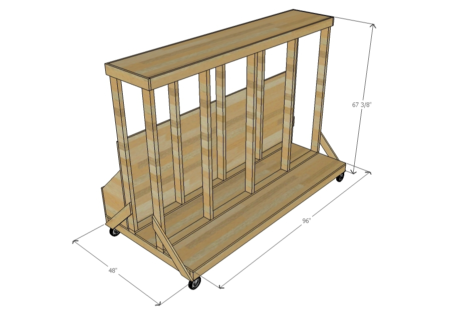 Ana white ultimate lumber and plywood storage cart diy for Sheet goods cart