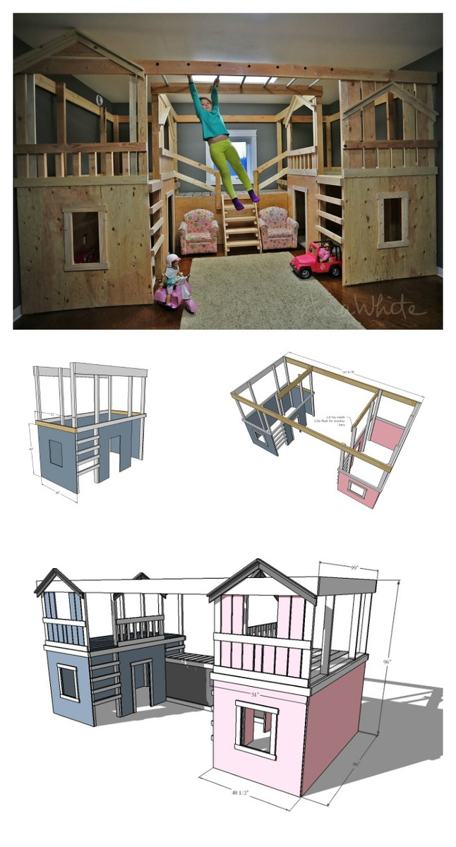 Ana white diy basement indoor playground with monkey for Basement jungle gym