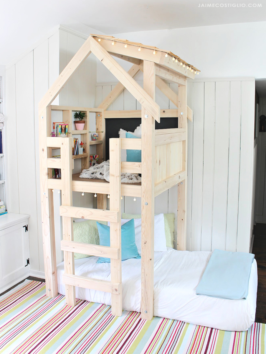 25 Diy Bunk Beds With Plans: Over Bed Indoor Playhouse - DIY Projects