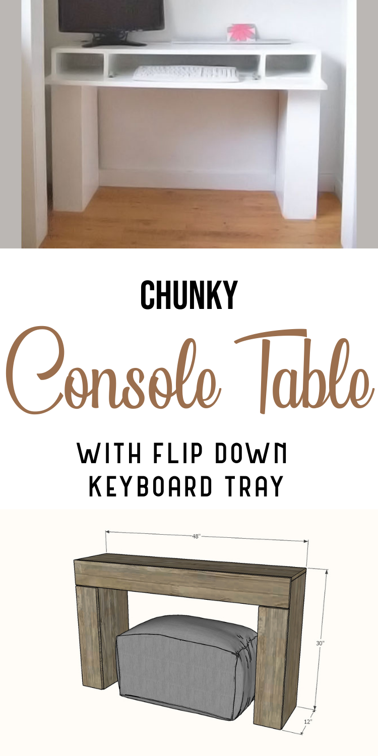 console table with flip down keyboard tray