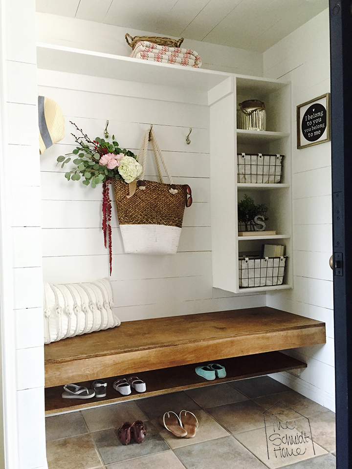 floating bench in mudroom