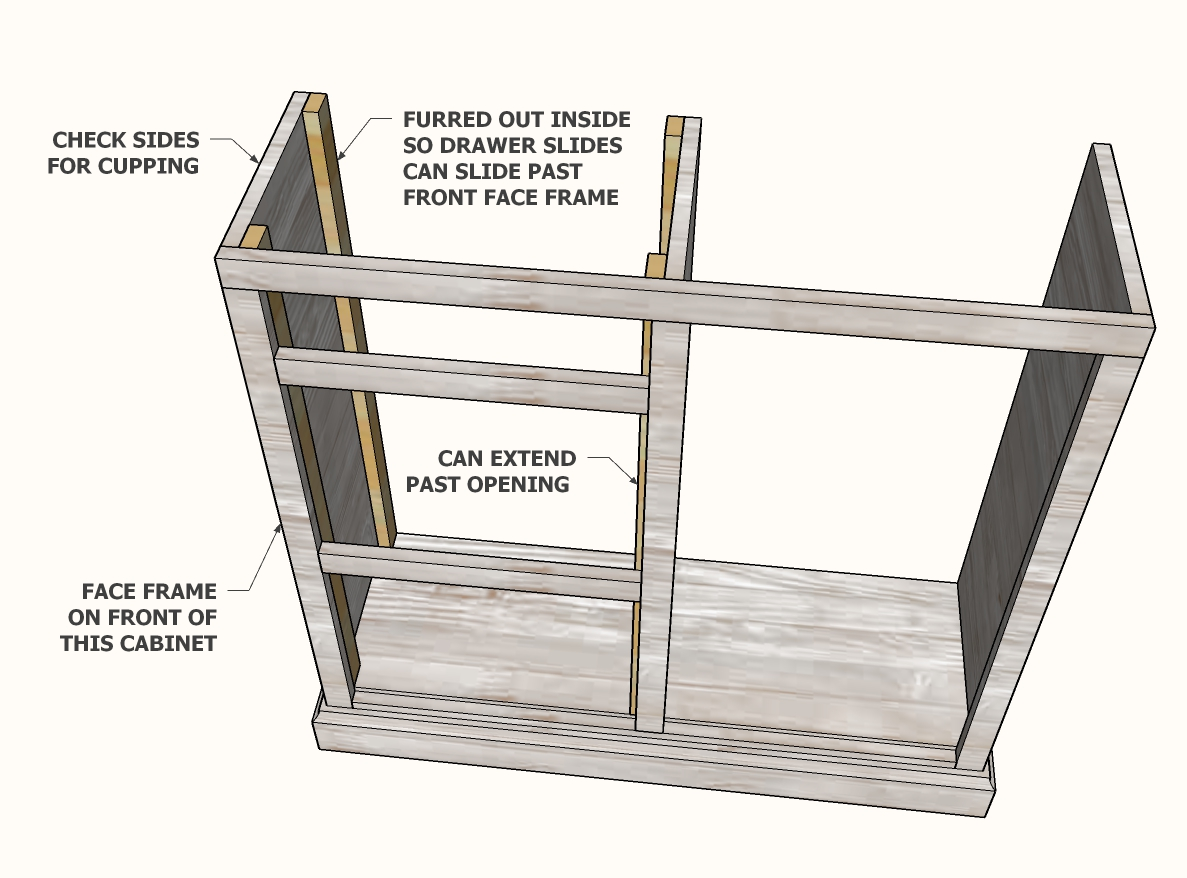 preparing the cabinet for drawer slide