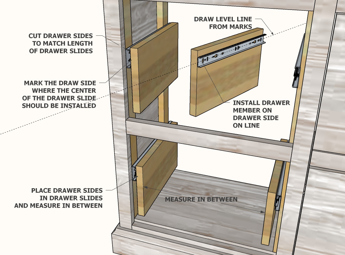 install drawer members for drawer slides