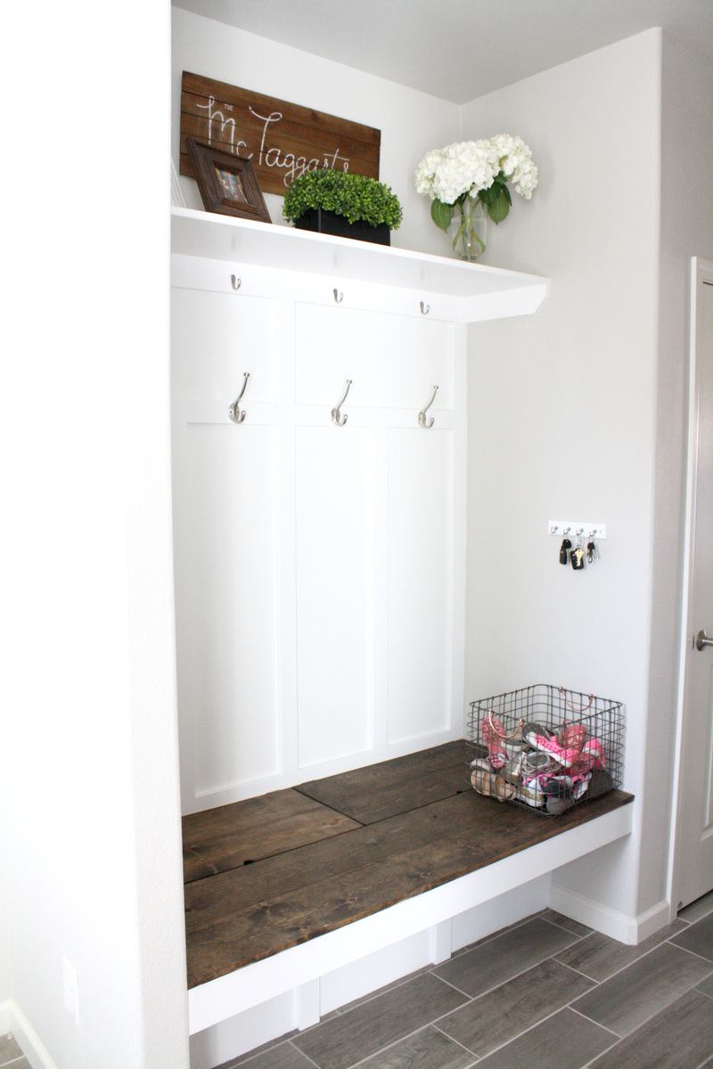 floating bench mudroom