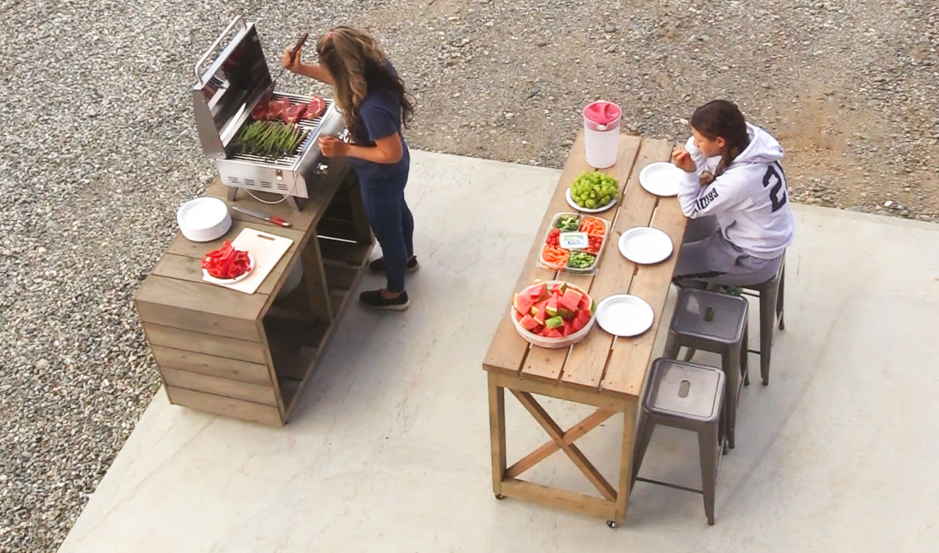grilling station nesting tables