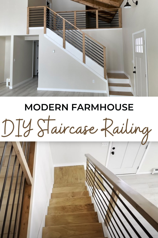 Modern Farmhouse DIY Staircase Railing   Ana White