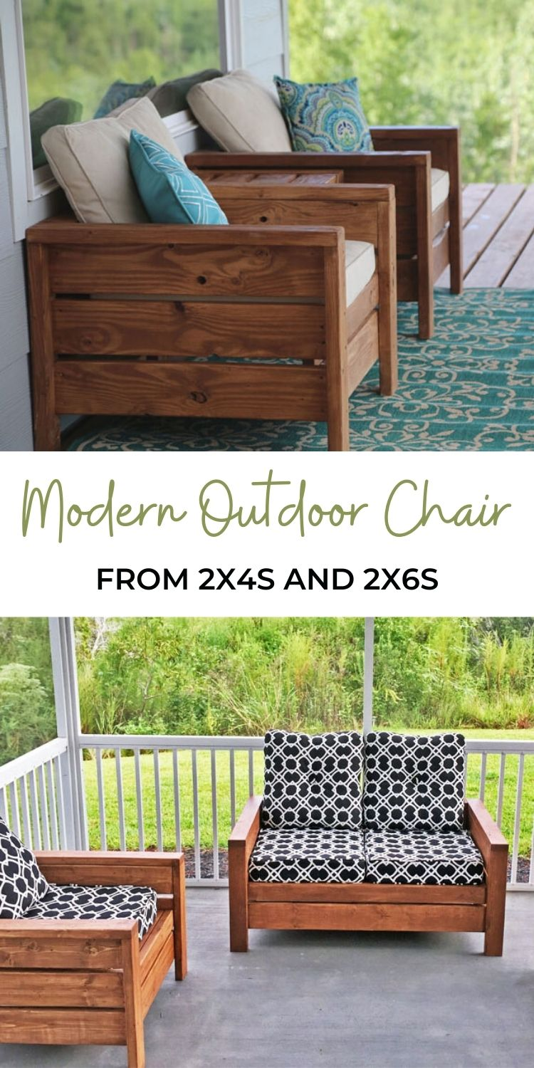 Modern Outdoor Chair from 2x4s