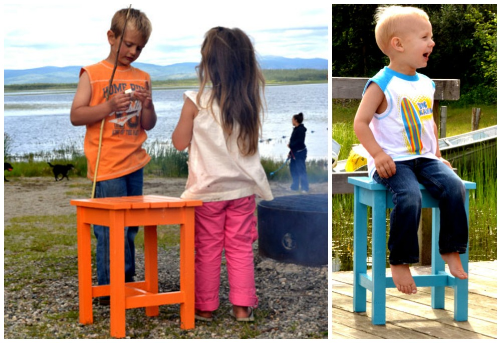 adirondack end table shown as a stool with children