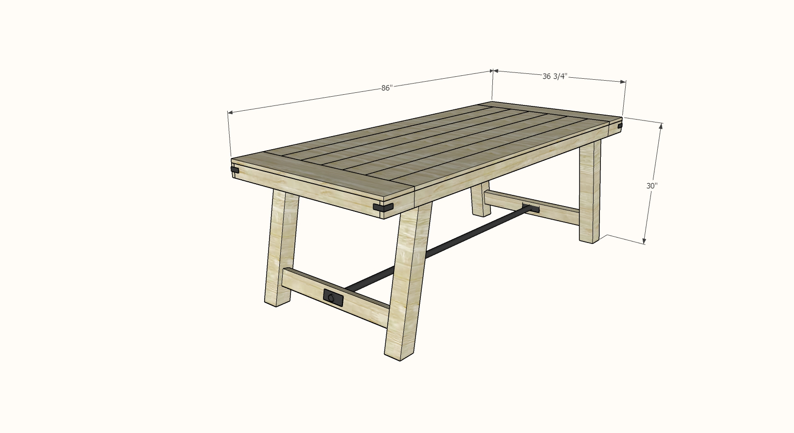 4x4 leg benchwright table