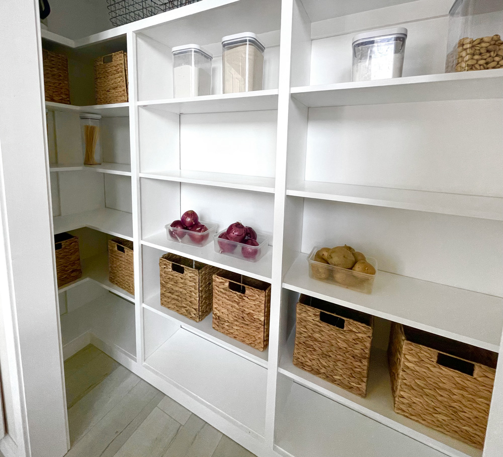 built in pantry with corner