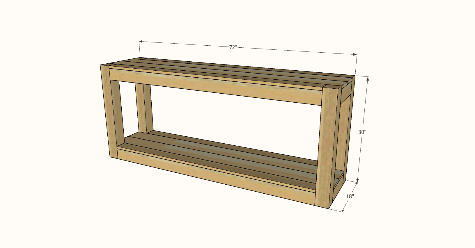 table size parsons console with shelf