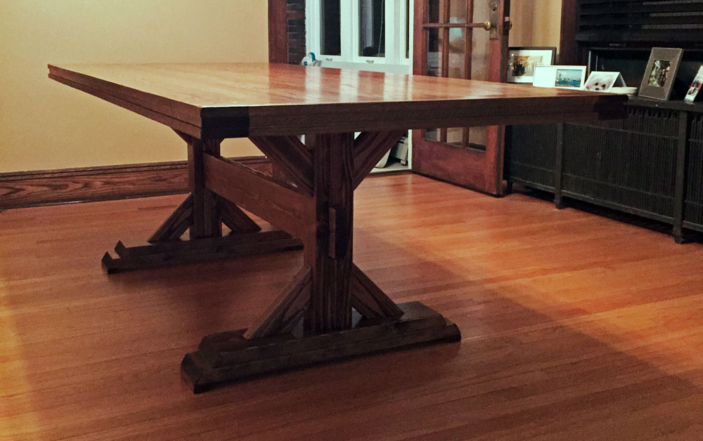 farmhouse table modified double base