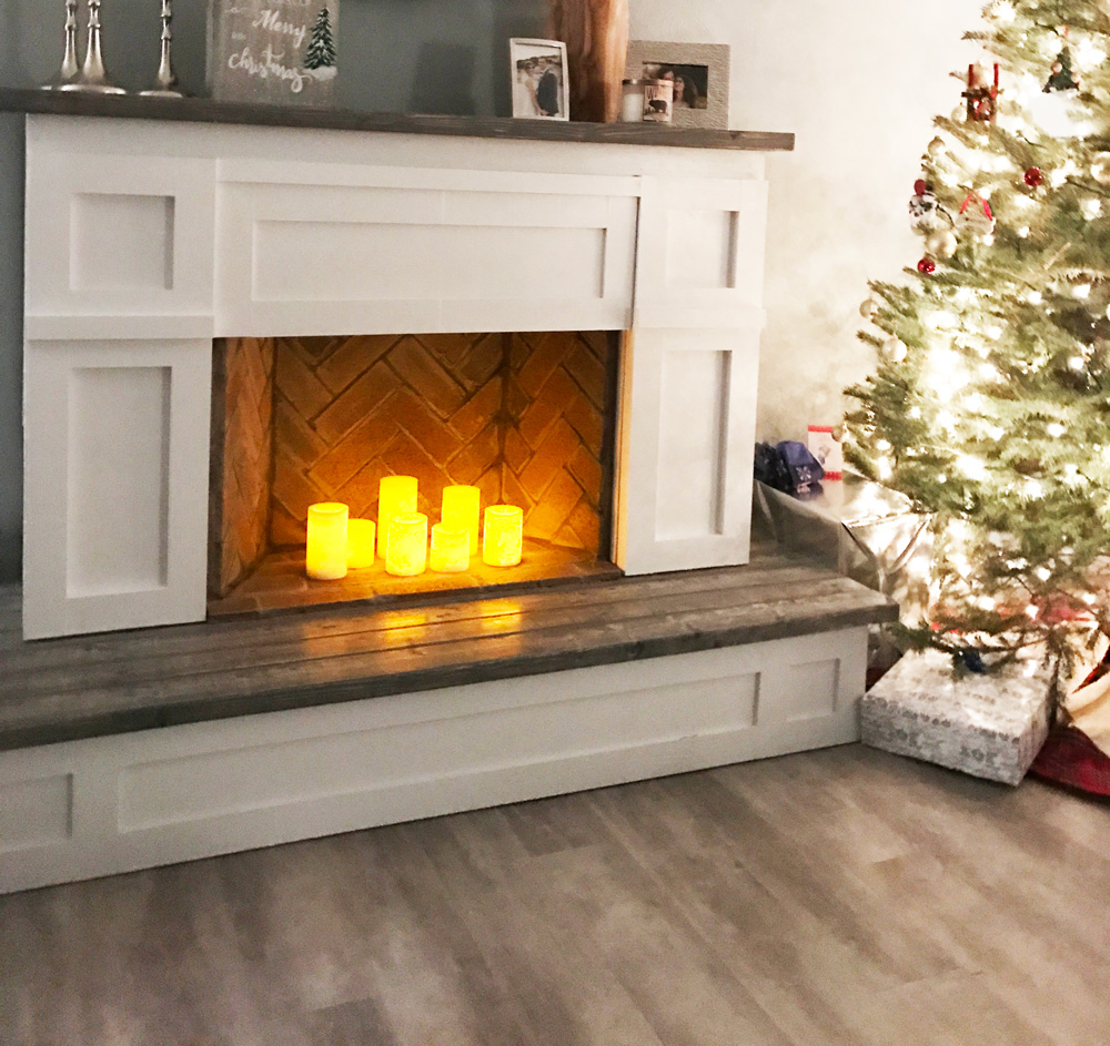 faux fireplace with hearth