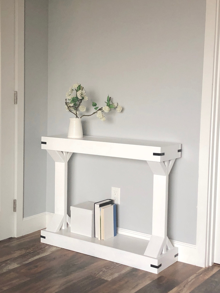 narrow console table white farmhouse