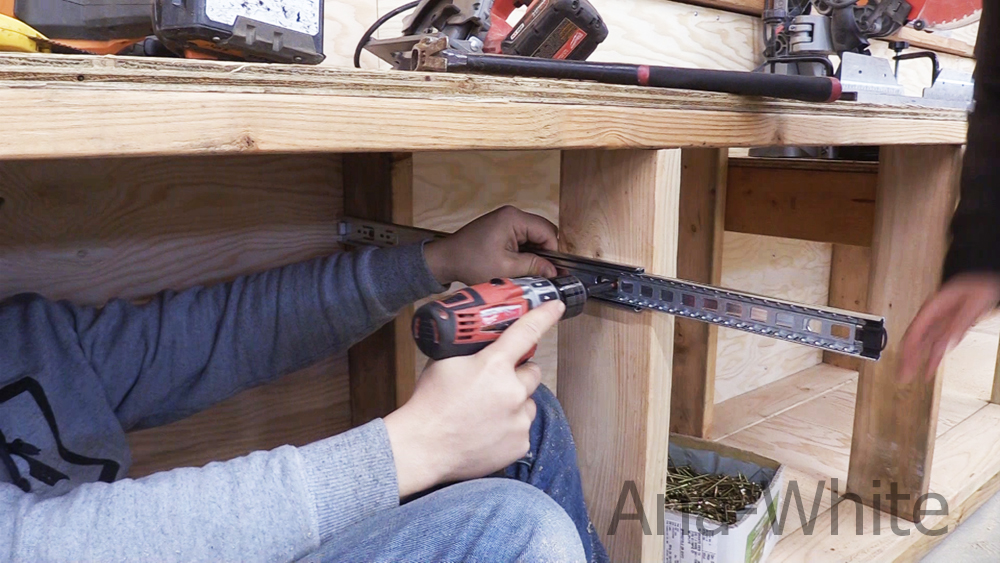 installing drawer slides in workbench